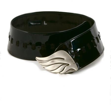 CURVE PERFECT RIBBON BELT <br /> black patent leather & suede