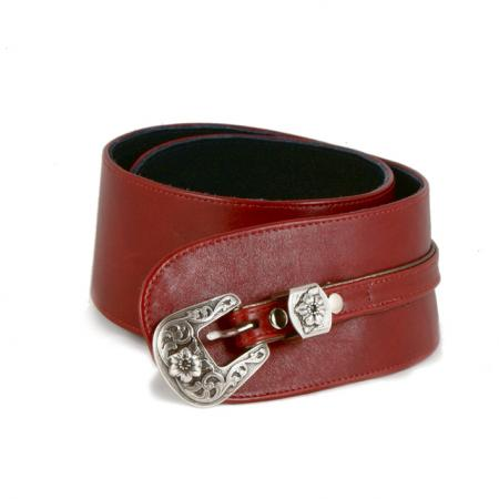 CURVE PERFECT WEST BELT <br > red & anthracite w/ floral buckle