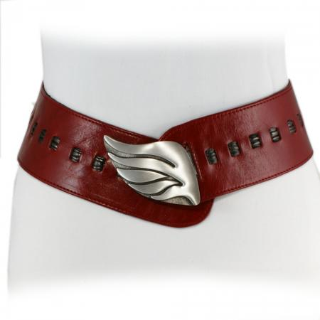 CURVE PERFECT RIBBON BELT <br /> red & anthracite