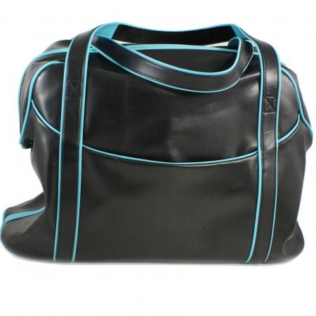 LARGE LAZY WEEKENDER<br>black & turquoise