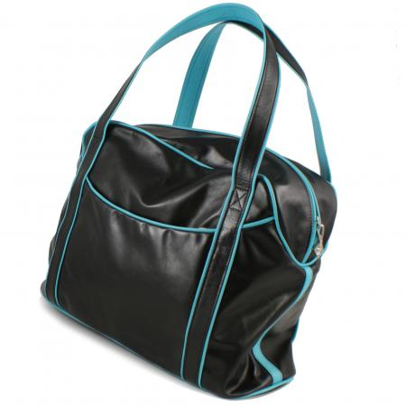SMALL LAZY WEEKENDER <br> black & turquoise