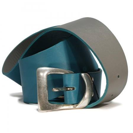 CURVED REVERSABLE BELT <br> celeste blue & grey