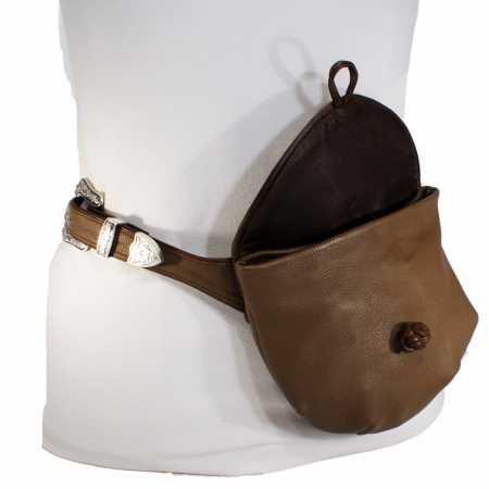 HIP HIP  BAG <br> taupe & dark brown