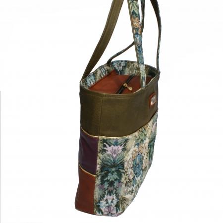 AEQUITAS the Shopper <br> textile, olive & cognac