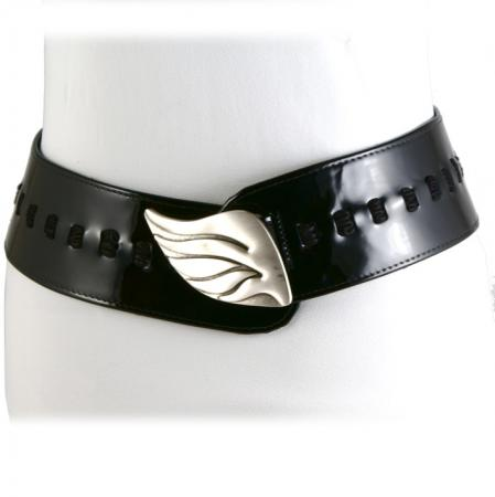 CURVE PERFECT RIBBON BELT <br /> black patent leather & suede