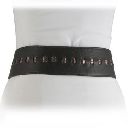 CURVE PERFECT RIBBON BELT <br /> black & pewter