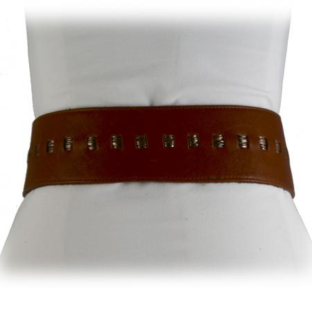 CURVE PERFECT RIBBON BELT <br /> cognac & pewter