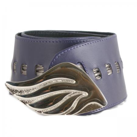 CURVE PERFECT RIBBON BELT<br /> purple & pewter